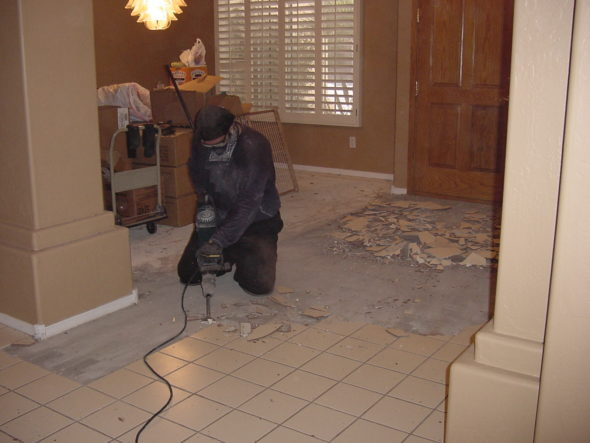 Interior demolition conducted in kitchen of a home