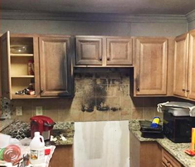 Fire damage in kitchen