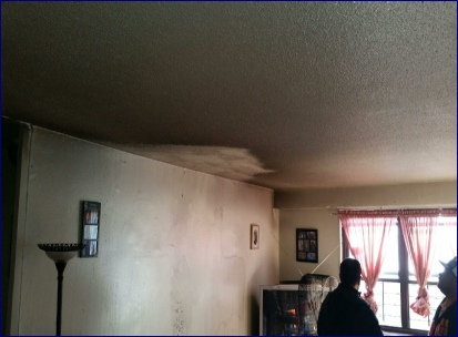 Soot damage in living room
