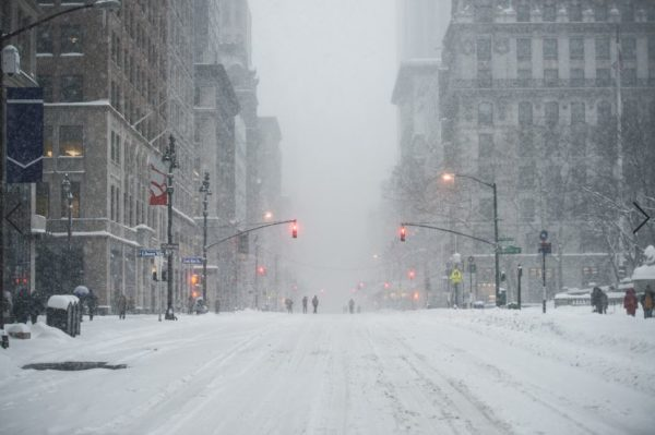 Snow Storm in NYC streets