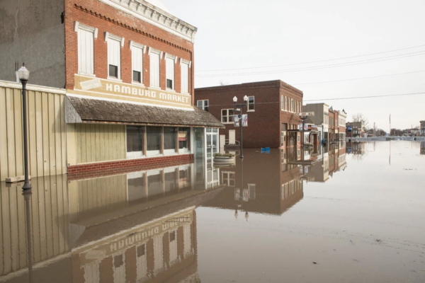 Street view of a flooded town