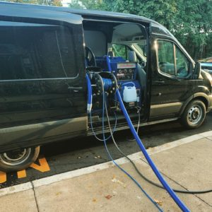 HydraMaster pump in van for water damage